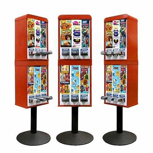 Sticker and Tattoo Vending Machines - 6 Stacked - Red