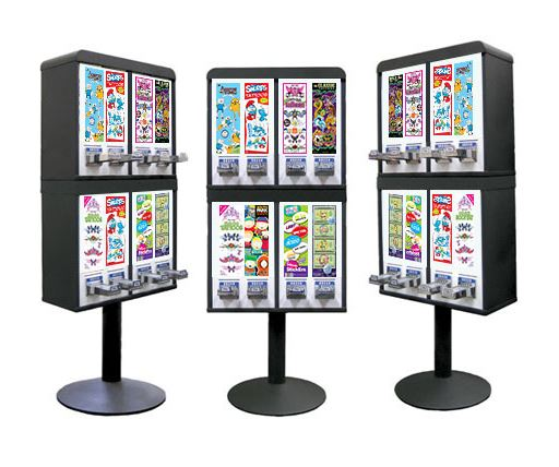 Sticker and Tattoo Vending Machines - 8 Stacked - Black