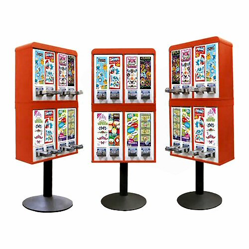 Sticker and Tattoo Vending Machines - 8 Stacked - Red