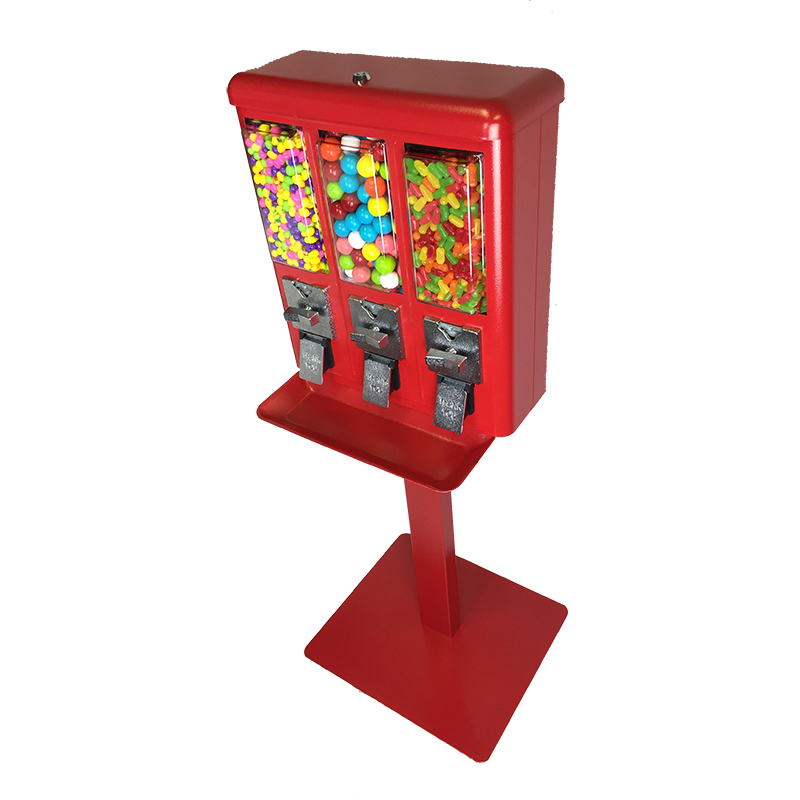 Red Triple Candy and Gumball Vending Machine