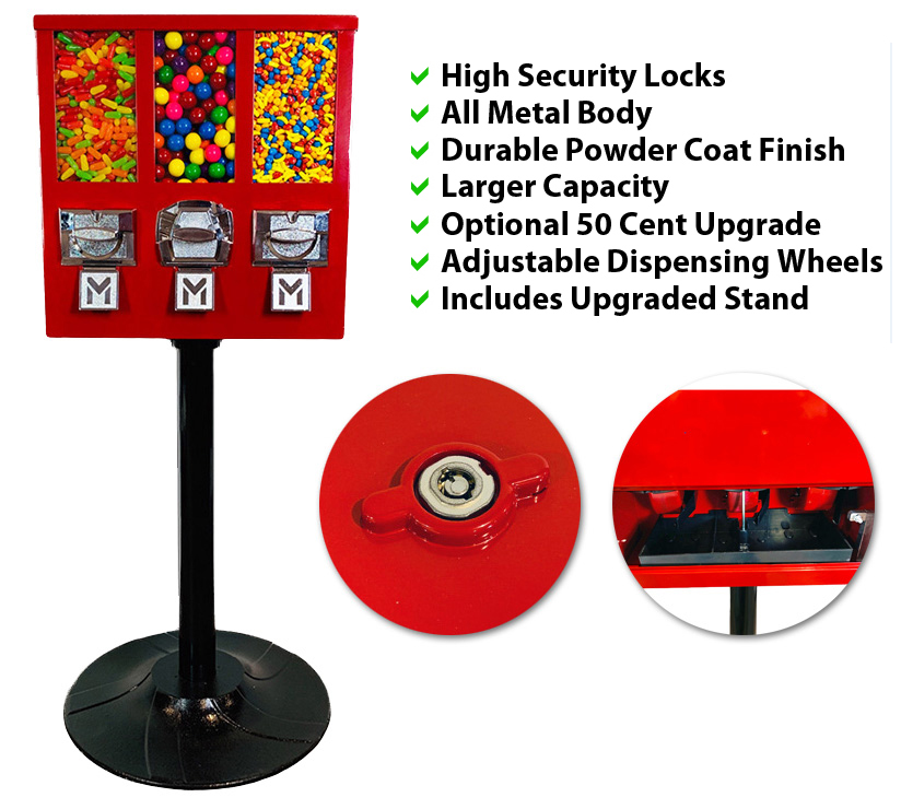 Triple Shop XL Gumball and Candy Machine Side View