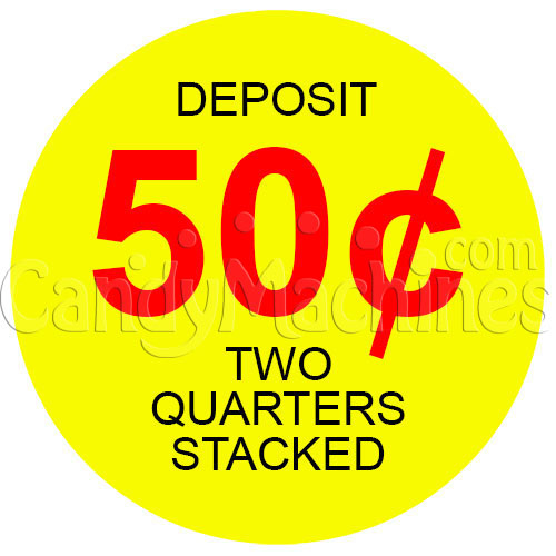 50 Cent Single-Slot Stacked Coin Vending Machine Decal (Outside)
