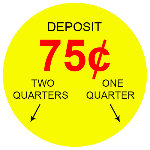75 Cent 2-Slots Coin Vending Machine Decal (Outside)