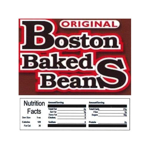 Boston Baked Beans Vending Machine Label with Nutrition Facts
