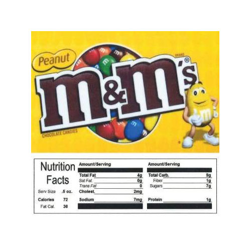 Peanut M&M's Vending Machine Label with Nutrition Facts