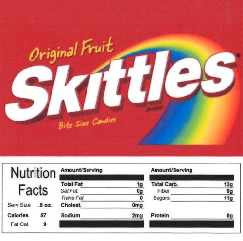 Skittles Vending Machine Label with Nutrition Facts
