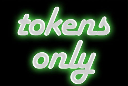 Tokens Only Vending Machine Label