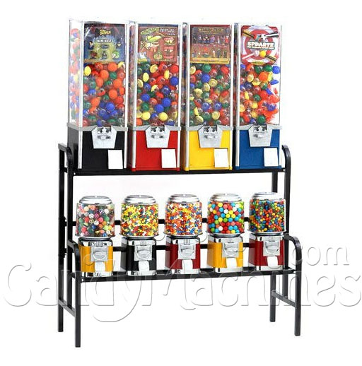 "45"" Black Bulk Vending Machine Rack with Candy Machines"