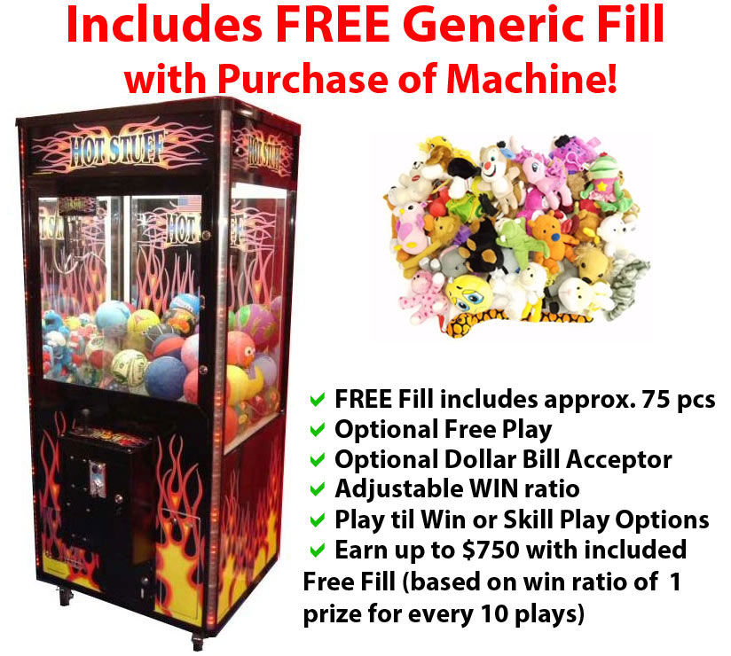 Hot Stuff Crane Vending Machine - FREE Generic Fill