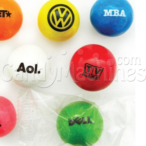 Custom Logo Printed Clear Wrapped Gumballs - 5/8 Inch