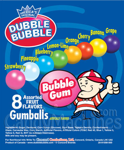 Assorted 8 Color Mix Dubble Bubble Gumballs Vending Display Card