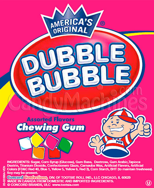 Bulk Dubble Bubble Assorted Chewing Gum Tablets Vending Display Card