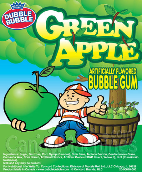 Dubble Bubble Green Apple Gumballs Vending Display Card