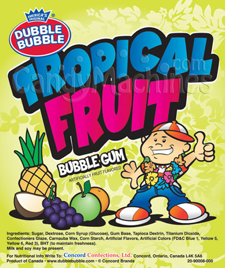 Bulk Dubble Bubble Tropical Fruit Bubble Gum Vending Display Card