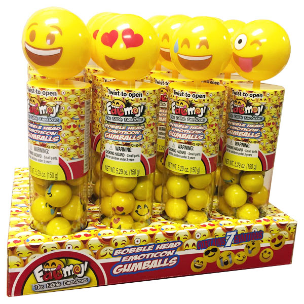 Emoji Bobble Heads with Gumballs - 12 ct