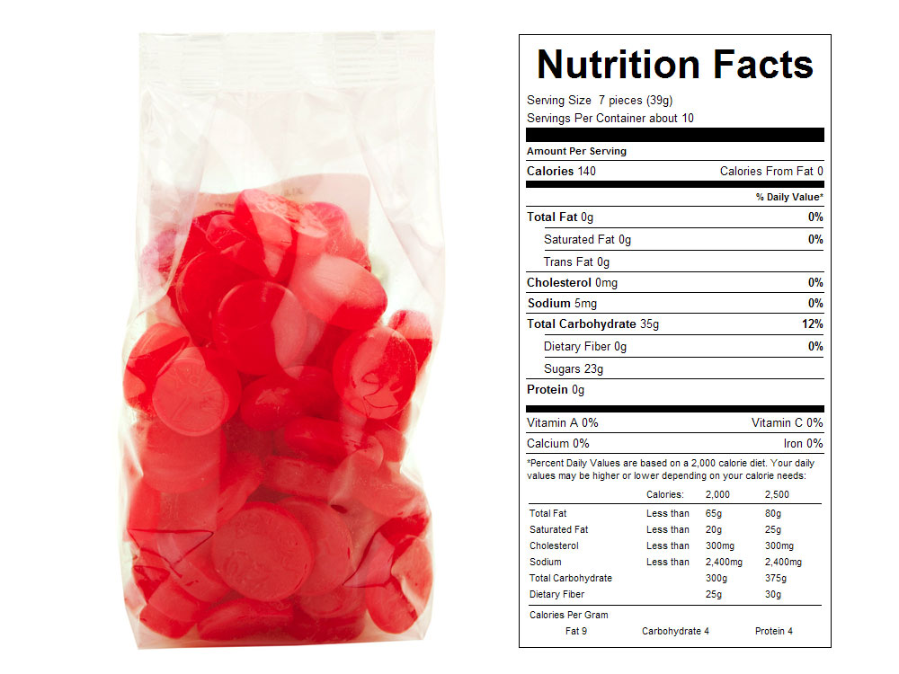 Cherry JuJu Coins Prepackaged Candy - Nutrition Facts