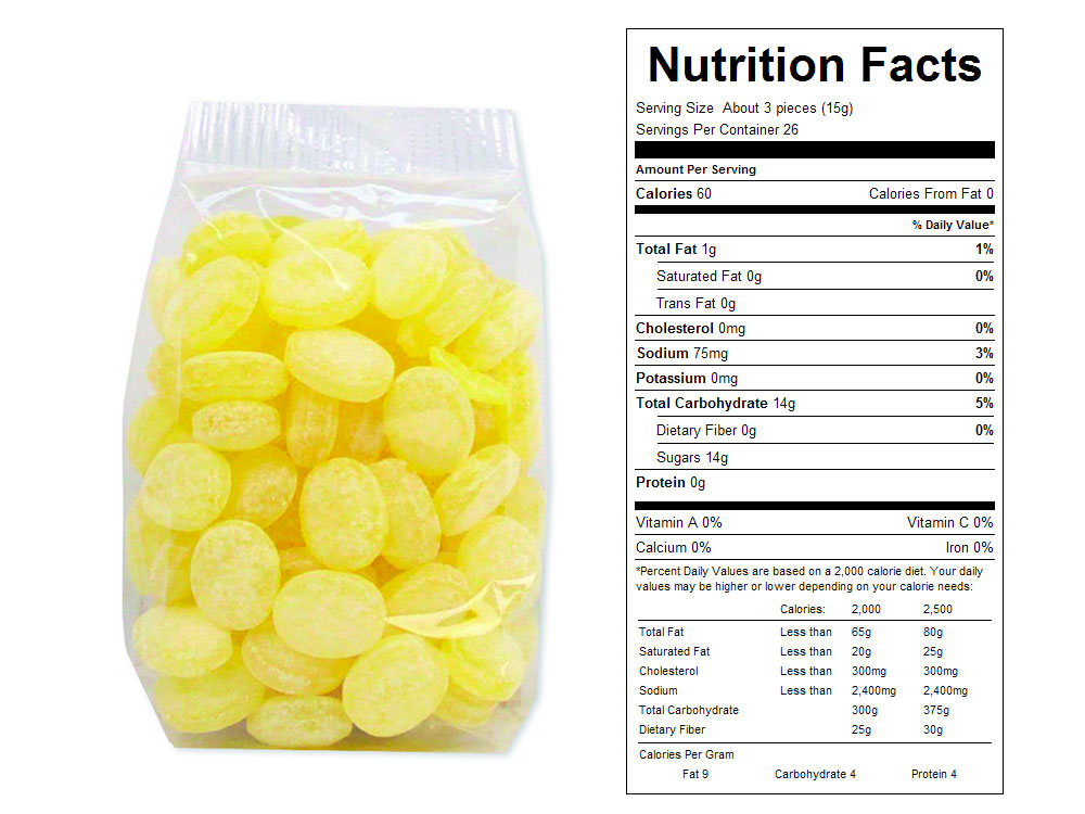 Lemon Drops Prepackaged Candy - Nutrition Facts