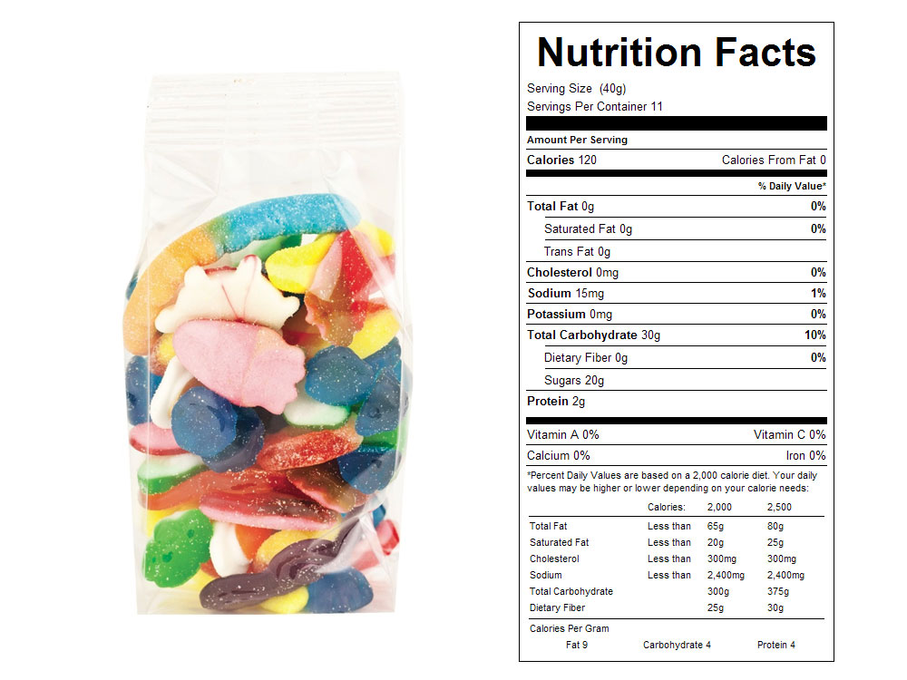 Gummy Mania Prepackaged Candy - Nutrition Facts