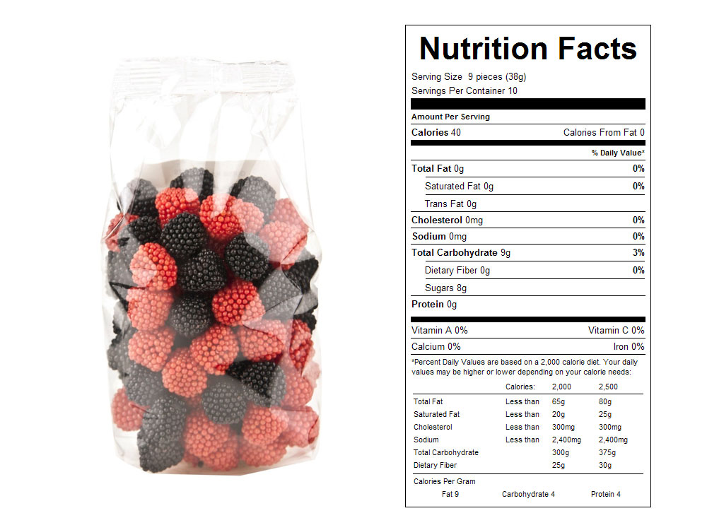 Gummy Raspberries Prepackaged Candy - Nutrition Facts