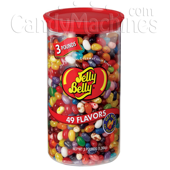 Jelly Belly 49 Assorted Flavor Jelly Beans - 3 lb. Clear Can