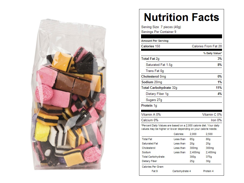 Allsorts Licorice Prepackaged Candy - Nutrition Facts