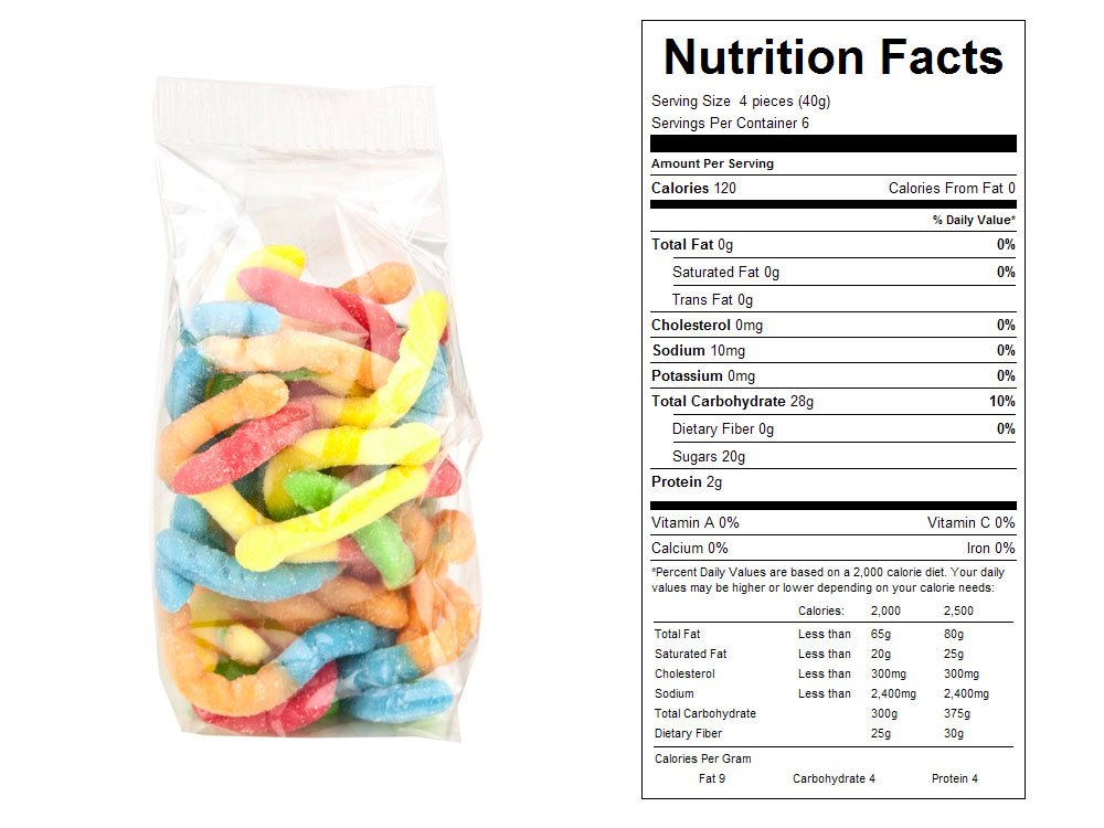Neon Gummy Worms Prepackaged Candy - Nutrition Facts
