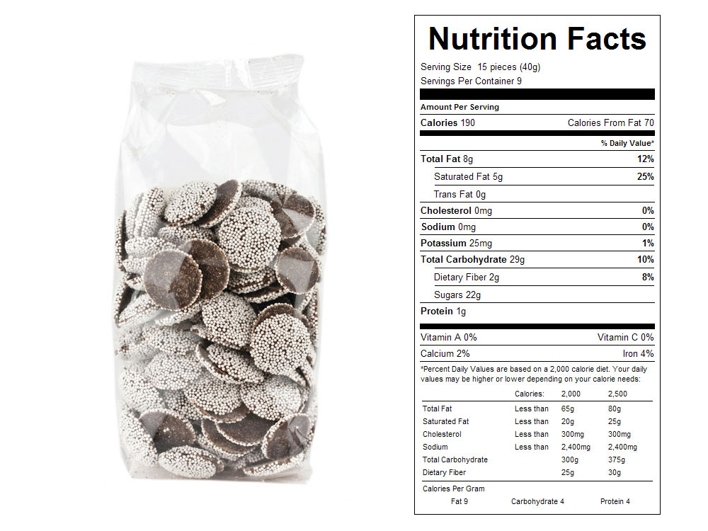 Nonpareil Chocolates Prepackaged Candy - Nutrition Facts