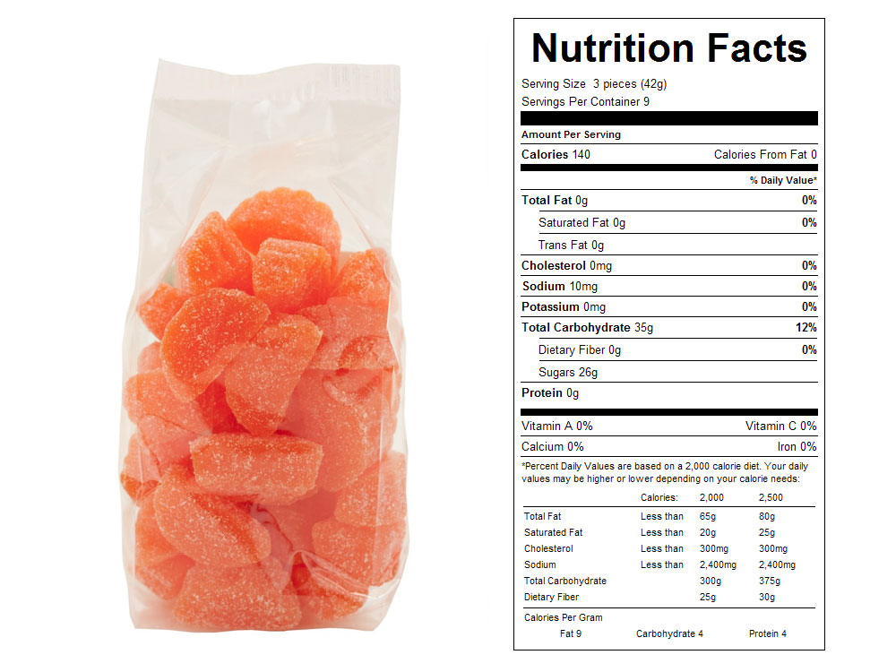 Orange Slices Prepackaged Candy - Nutrition Facts