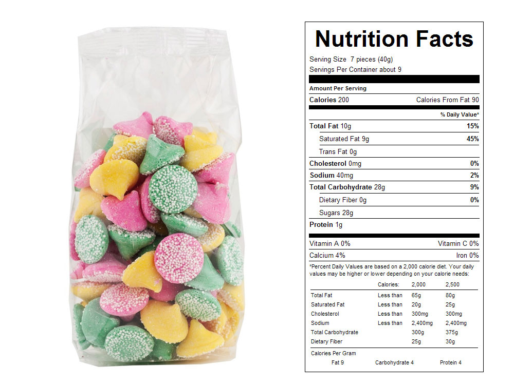 Smooth N Melty Prepackaged Candy - Nutrition Facts