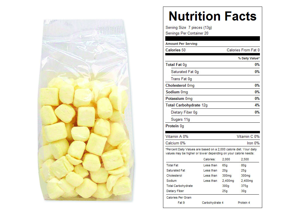 Yellow Butter Mints Prepackaged Candy - Nutrition Facts