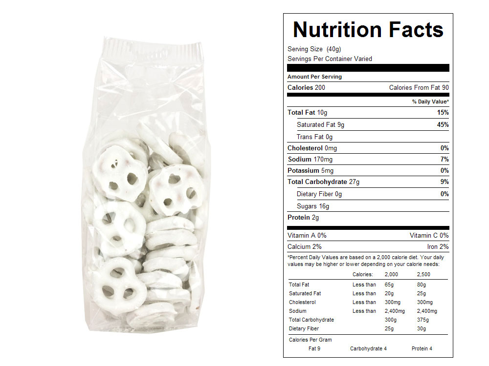 nutrition facts for yogurt covered pretzels