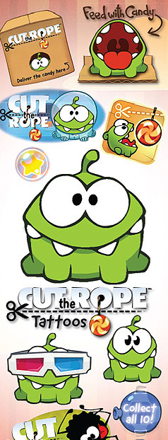 Cut The Rope Vending Tattoos - 300 ct. Refill
