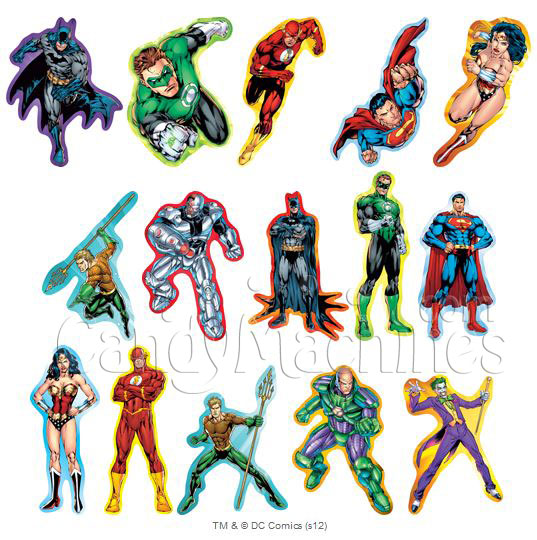 Dc justice league of america superhero vending stickers refill 300ct