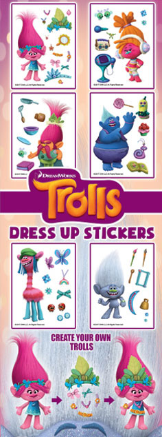Dress Up Trolls Vending Machine Stickers Refill 300ct