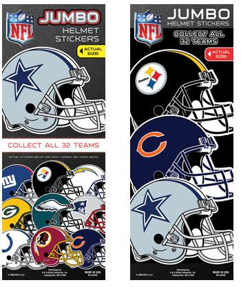 NFL Football Jumbo Helmet Vending Machine Stickers - Click Here To Buy!