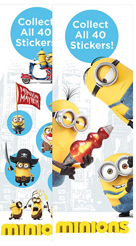 Minion Movie Vending Stickers Flat Vending Stickers Refill 300ct