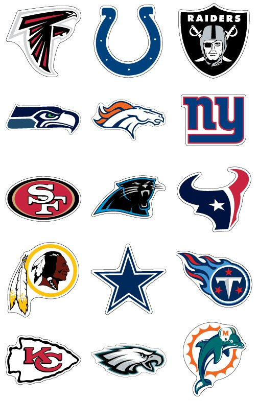 nfl jumbo team logo vending stickers