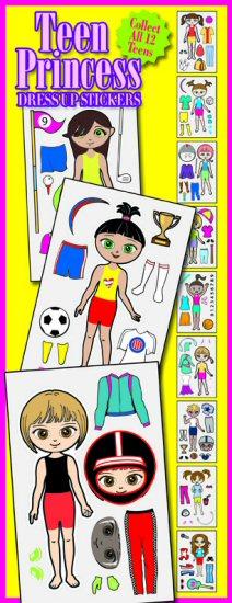 Teen Princess Dress-Up Vending Stickers
