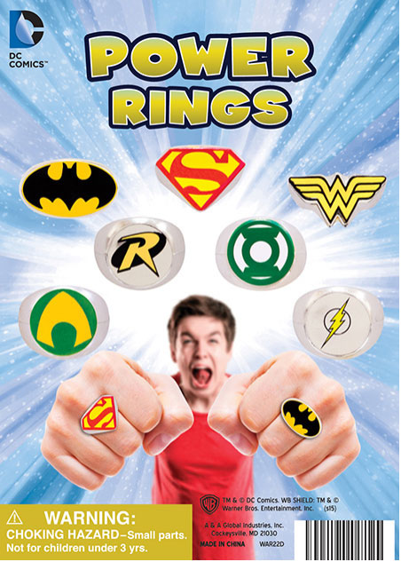 LOT OF 24 DC COMICS RINGS 2 DOZEN BATMAN VS SUPERMAN WONDER WOMAN ROBIN FLASH