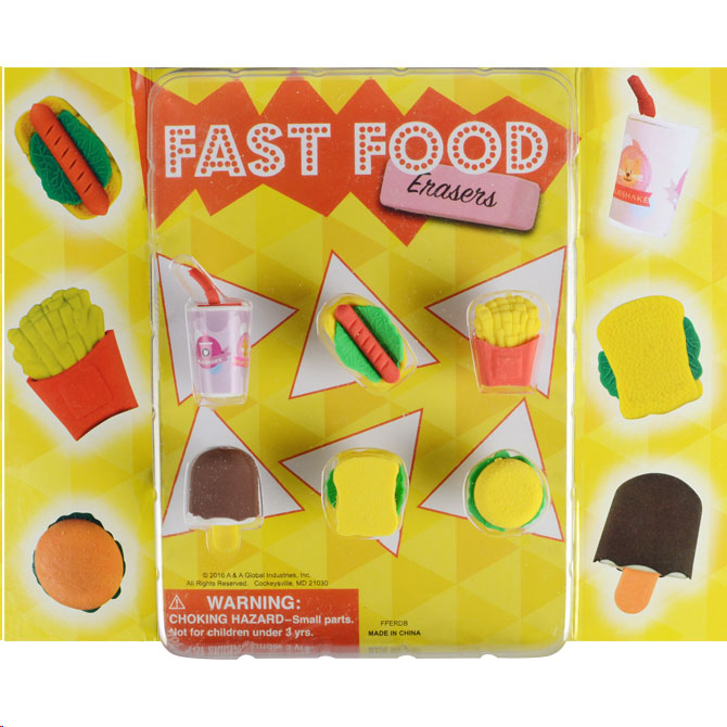 Fast Food Erasers Vending Capsules (1 inch)
