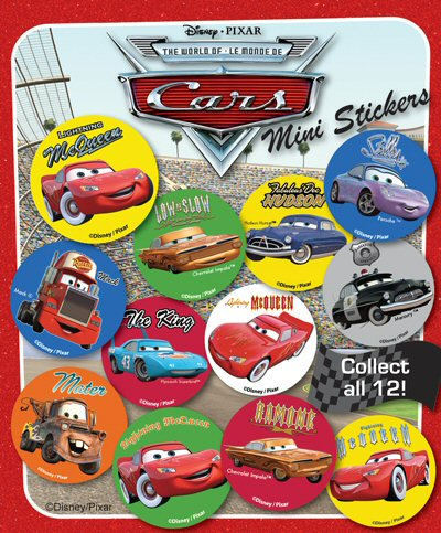 Disney Pixar Cars Mini Stickers Vending Capsules