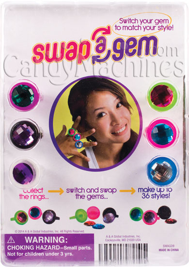 "1.1"" Swap A Gem Rings Vending Capsules Display Card"