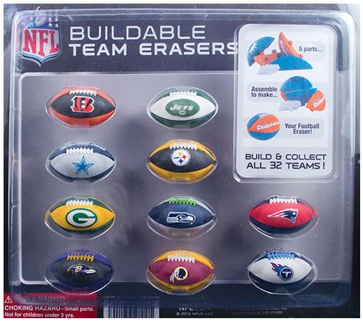 "2"" NFL Football Puzzle Erasers Vending Capsules - 250 ct."