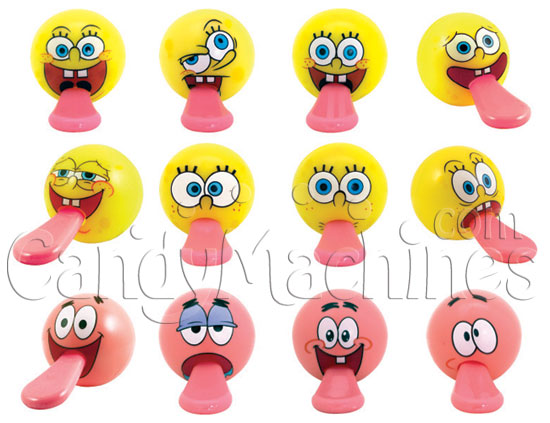"Bulk Vending SpongeBob Tongue Tuggers in pre-filled 2"" Vending Capsules - 250 ct."